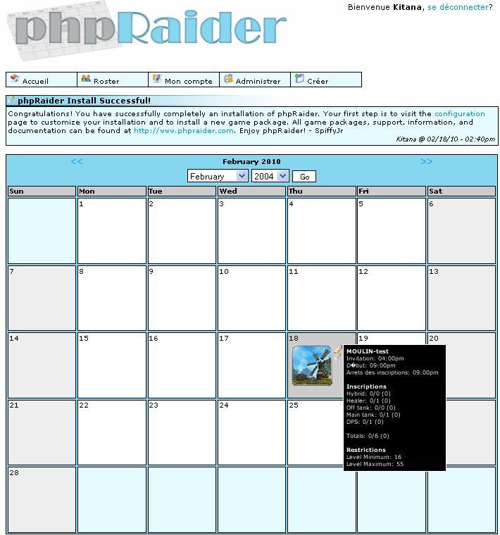 [PROJET] - Plannification de nos sorties avec PhpRaider Projet01